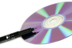 CD disk with permanent marker. On white background Stock Photo