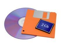 CD, Diskette und grelle Karte Stockfoto