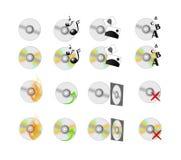 CD-Diskettenikonen eingestellt Stockbild