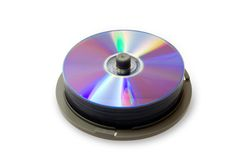 CD disks on spindle Royalty Free Stock Photo