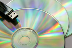 Cd disks with USB flash Royalty Free Stock Image
