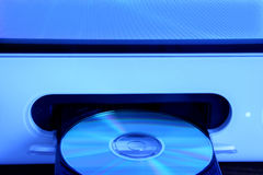 CD Drive. CD rom in open drive of computer with a blue tone Stock Photography