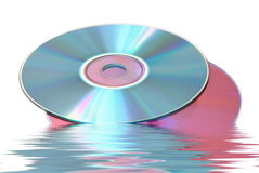 CD and  DVD. Reflected data hardware CD DVD on white background Royalty Free Stock Photo