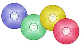 CD DVD. Colorful CDs and/or DVDs on white background illustration Stock Images