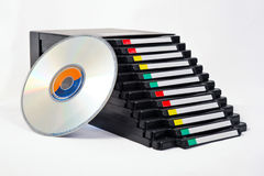 CD/DVD archive box. Open box with cd/dvd royalty free stock photography