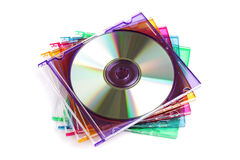 CD or DVD case. Stack of colored CD/DVD case isolated on white background