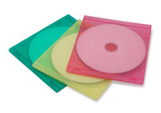 CD or DVD in colorful plastic cases Royalty Free Stock Photo