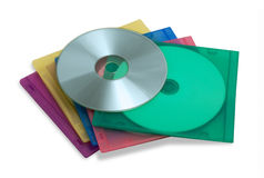 CD or DVD in colorful plastic cases. Isolated on white stock image