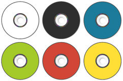 CD or DVD compact disc of different colors on a wh Stock Images