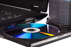 CD DVD on computer Royalty Free Stock Image