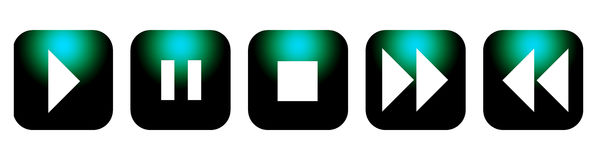 CD DVD control buttons. A set of black CD or DVD control buttons with a green hi-light Stock Images