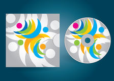 CD or DVD cover. CD or DVD editable cover template with abstract illustration Royalty Free Stock Photo