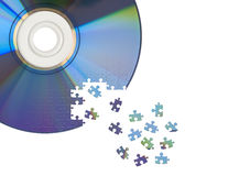 CD / DVD cut by jigsaw puzzle Royalty Free Stock Image