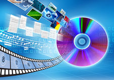 CD / DVD data storage Concept. Conceptual image about how a CD or DVD as a storage to save multimedia datalike document, archive, song, music picture or movie royalty free stock photography