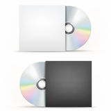 CD-DVD disc and cover. The CD-DVD disc and paper case on the white background Stock Images