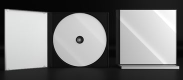 CD DVD Disc plastic box mockup. Front view. 3d render of a cd dvd compact disc plastic box mockup on black background. Front view Stock Image