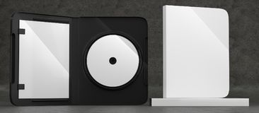 CD DVD Disc plastic box mockup. Front view. 3d render of a cd dvd compact disc plastic box mockup on concrete background. Front view Royalty Free Stock Images