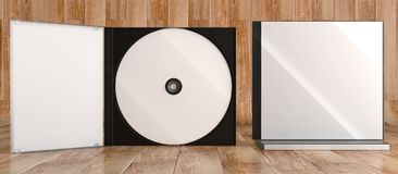 CD DVD Disc plastic box mockup. Front view. 3d render of a cd dvd compact disc plastic box mockup on wooden background. Front view Royalty Free Stock Image