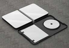 CD DVD Disc plastic box mockup. Perspective view. 3d render of a cd dvd compact disc plastic box mockup on concrete background. Perspective view Royalty Free Stock Photos