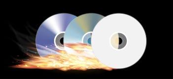 Cd dvd disk burning Stock Photos