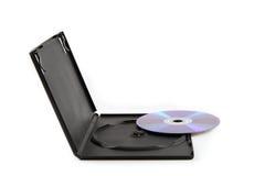 CD/DVD e coperchio di plastica nero largamente inclinato Immagine Stock Libera da Diritti
