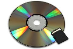 CD or DVD and flash card Royalty Free Stock Photography