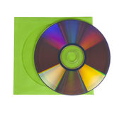 CD or DVD with green cover, isolated Royalty Free Stock Image