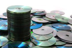 CD and DVD isolated on the white Stock Photography