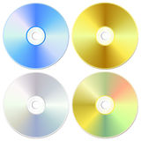 CD/DVD Laser kit. Blue, golden and silver cd or dvd set, isolated on white, vector illustration Royalty Free Stock Image