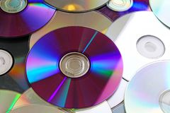 Cd, dvd cd odbijających błyszczących dvds promienia tekstury błękitny wzór Obrazy Stock