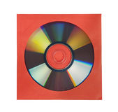 CD or DVD in red paper case, isolated Stock Photography
