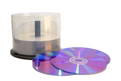 CD/DVD's & Case. DVD/CD plastic case and dvd's on white background royalty free stock image