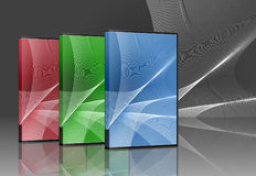 CD DVD Software Boxes. Collection of software suite boxes for three cds or dvds. Packages to hold discs Royalty Free Stock Photo