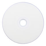 CD/DVD Top. The top of a blank CD/DVD. There is a slight rainbow effect on the outer edge of the disk. Includes a clipping path Royalty Free Stock Photography