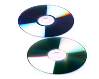 Cd and dvd white background Stock Photo