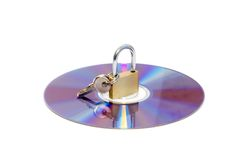 CD e cadeado isolados imagens de stock royalty free