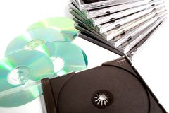 Cd e casos Fotografia de Stock Royalty Free