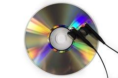 Cd e trasduttori auricolari Fotografie Stock Libere da Diritti