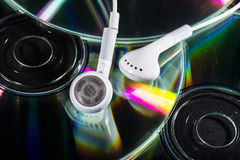 Cd and earphones Royalty Free Stock Photography