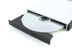 Cd eingesteckt in eine CD-ROM stockfotografie
