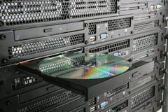 CD en el estante Fotografía de archivo