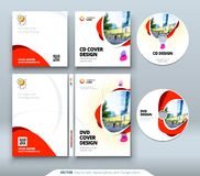 CD envelope, DVD case design. Orange Corporate business template for CD envelope and DVD case. Layout with modern. Triangle elements and abstract background Stock Photography
