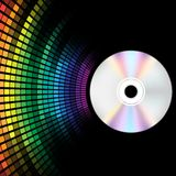 CD and Equalizer. Abstract Background - Compact Disc and Multicolor Equalizer on Black Background / Vector stock illustration