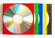 CD för CD/DVD, kuvert för skivor Arkivbild