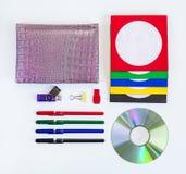 CD för CD/DVD, kuvert för skivor Arkivbilder
