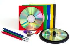 CD för CD/DVD, kuvert för skivor Royaltyfri Foto