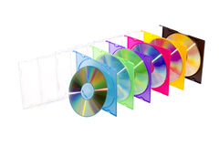 CD in farbigen Kästen Stockfotos