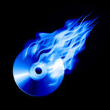 CD in fire. Burning blue CD  on background. Vector illustration Stock Photo