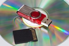 CD, flash drive and SD card royalty free stock photography