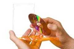 CD in hand doos Royalty-vrije Stock Afbeeldingen